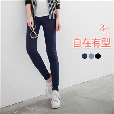 0628新品 素色百搭彈性窄管長褲.3色