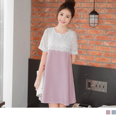 0425新品 甜美優雅~質感格紋面料拼接蕾絲層次感長版上衣.2色