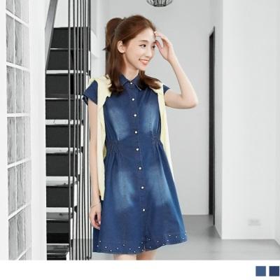 0606新品 風尚主義~公主線兩側縮腰珠飾下襬牛仔洋裝.2色