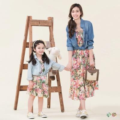 0606新品 親子裝系列~繽紛印花細肩綁帶連身長洋裝‧2色