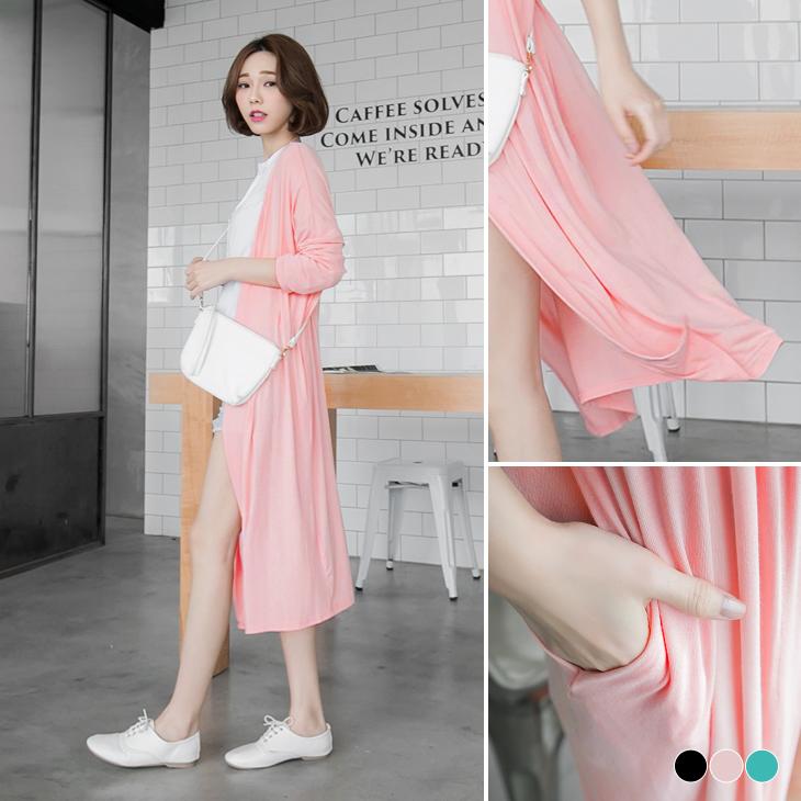 0429新obdesign.com.tw品 素色彈性透氣面料長版寬鬆罩衫外套.3色