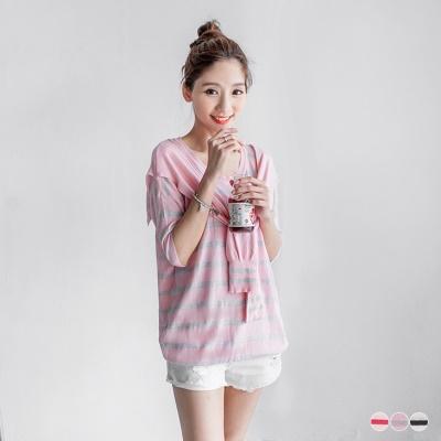 0526新品 親子系列~可愛甜心~條紋披肩造型五分袖上衣.3色
