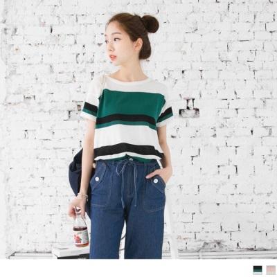 0325新品 配色條紋針織面料長版上衣.2色