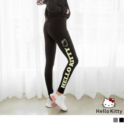 0413新品 KITTY運動系列~側邊印花鬆緊貼腿褲/內搭褲.2色