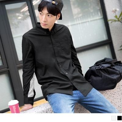 0603新品 直條紋拼接長袖襯衫•男2色