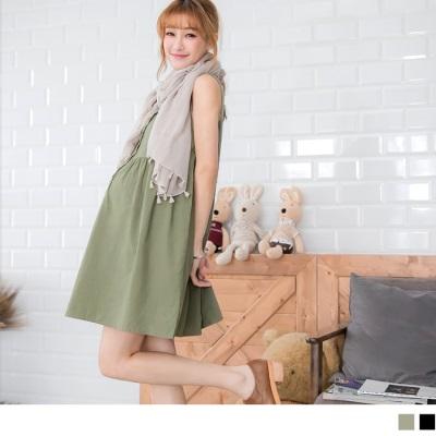 0520新品 舒適木釦無袖孕婦洋裝‧2色