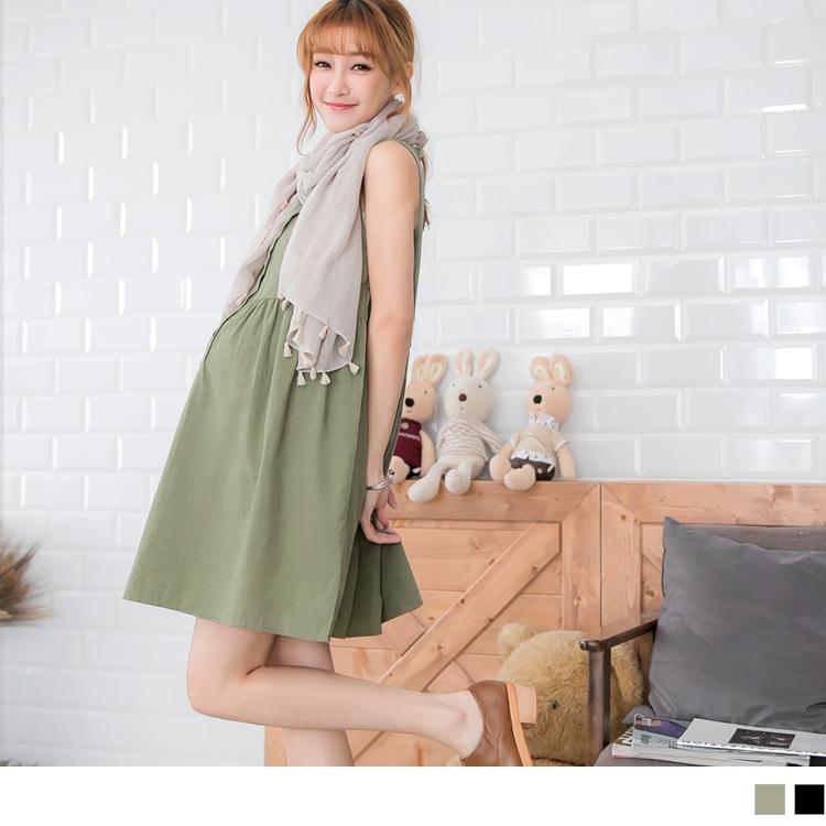 05ob窄管褲20新品 舒適木釦無袖孕婦洋裝?2色