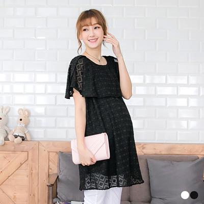 0520新品 花紋蕾絲微透雪紡孕婦洋裝‧2色