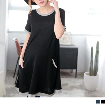 0606新品 撞色修身圓領孕婦洋裝‧2色