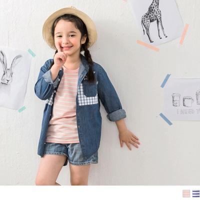 0415新品 小樹刺繡條紋圓領短袖上衣‧童2色
