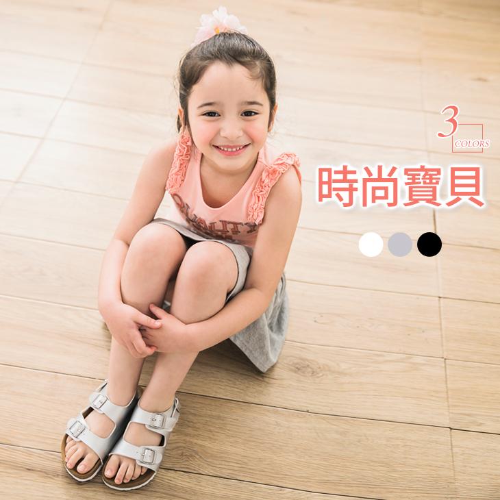 0415新品 質感仿皮革休閒涼鞋?男ob嚴選 退貨女童3色