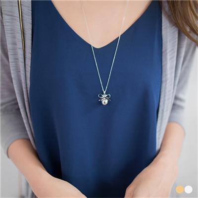 0303新品 金屬蝴蝶結單顆墬飾項鍊.2色