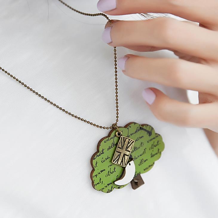 0520新品ob 嚴 選 【特價款】 木頭質感樹X小鳥墬飾項鍊