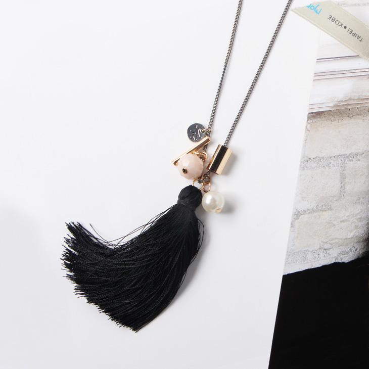 0317新品 【特價款】  珍珠X金屬黑色流蘇項鍊