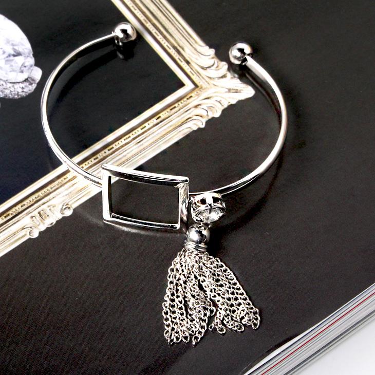 0314新品【特價款】立體方型設計X水鑽流蘇手環