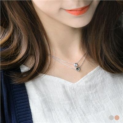 0318新品 立體愛心X鏤空水鑽設計雙圈項鍊.2色