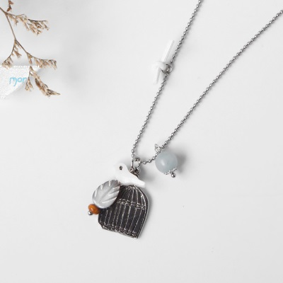 0414新品 金屬鳥籠壓克力小鳥墬飾項鍊