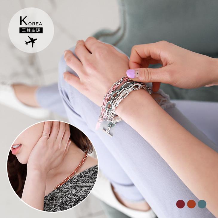 0303新品 【特價款】 雙色皮繩ob退貨鍊條T字釦項鍊/手鍊.3色