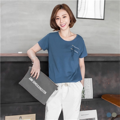 【百搭T恤♥任選59折】素色雙拉鍊造型圓領彈性上衣.2色