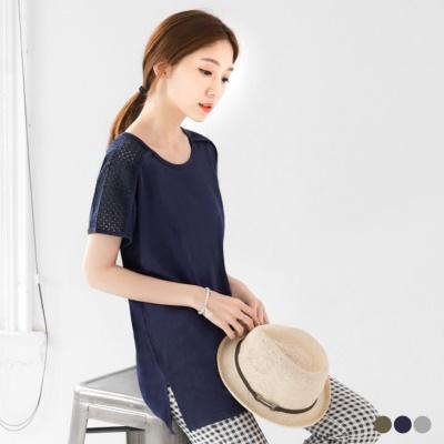 0506新品 素色肩膀鏤空造型柔棉圓領上衣.3色