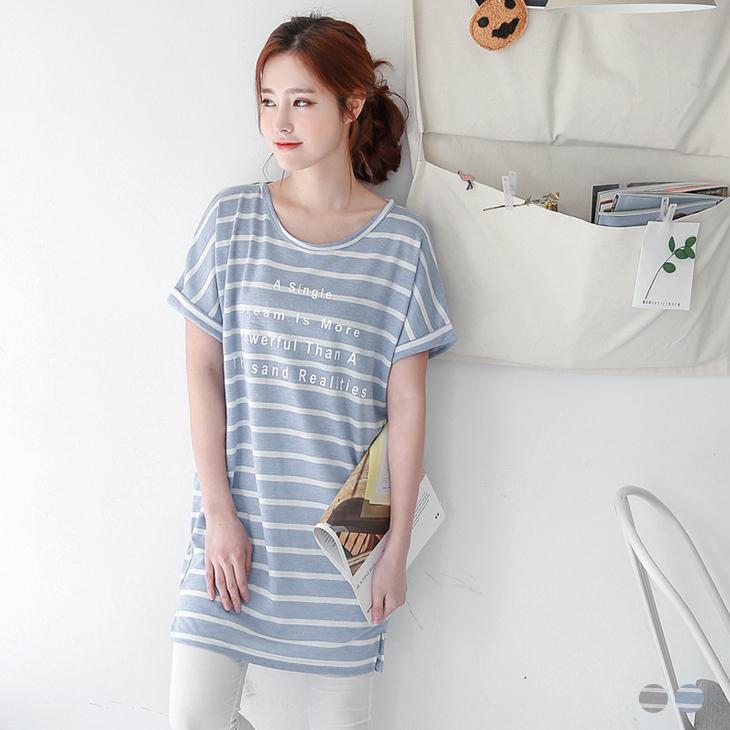 0318新品 英文燙印條紋面料洋裝/長版上衣.2色