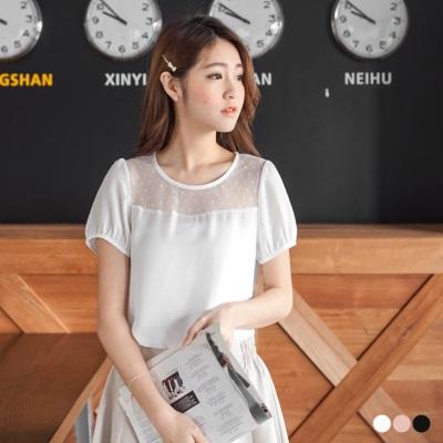 0516新品 鏤空點點網紗拼純色圓領上衣.3色