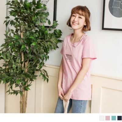 0615新品 英文燙印竹節棉質上衣.3色