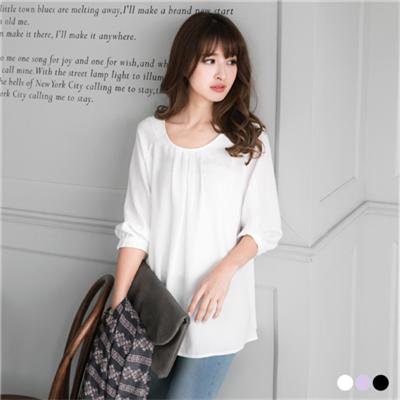 0516新品 素色雪紡燈籠袖打褶圓領寬鬆上衣.3色