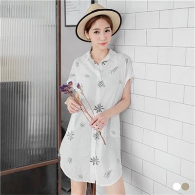 0608新品 清新感樹葉印花反褶袖長版襯衫/外套.2色