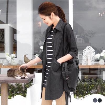 0414新品 棉質丹寧刷色七分袖長版上衣/外套.2色