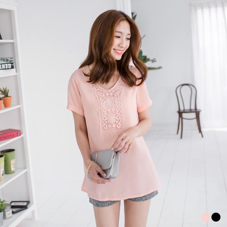 0504新品 素色鏤空布蕾絲長版上衣.2色