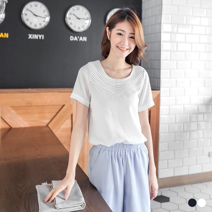 0429新品 鏤空網紗ob ptt拼佈蕾絲領純色上衣.2色