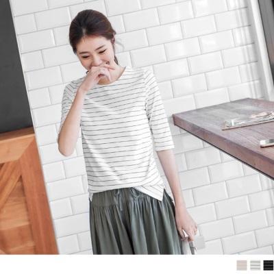 0622新品 棉質條紋五分袖上衣.3色