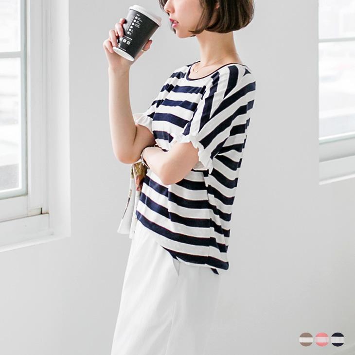 0428新品 海軍風條紋荷葉花邊袖圓領上衣.3色