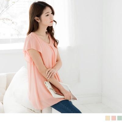 0406新品 純色打摺領口設計荷葉袖長版上衣.2色