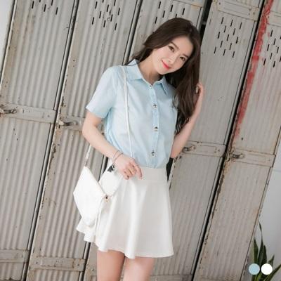 0406新品 小人偶刺繡造型純色襯衫.2色
