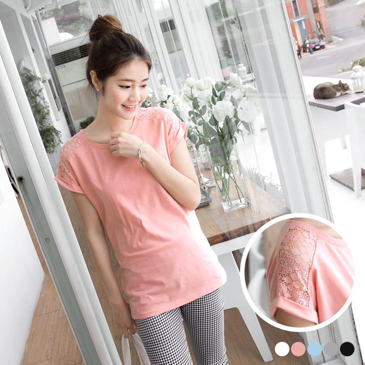 0330新品 純色鏤空布蕾絲綴反折袖圓領T恤.5色