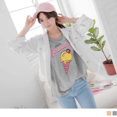 0406新品 草莓冰淇淋造型燙印T恤.2色
