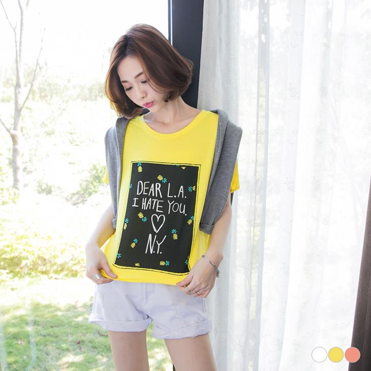 0331新品 小鳳梨造型燙印圖反折袖T恤.3色