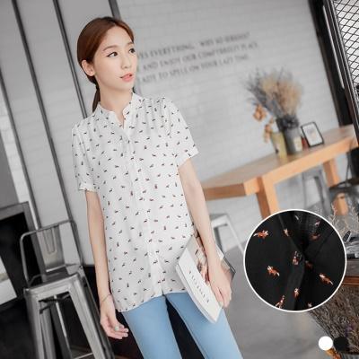 0406新品 小浣熊滿版印花立領開釦寬鬆襯衫.2色