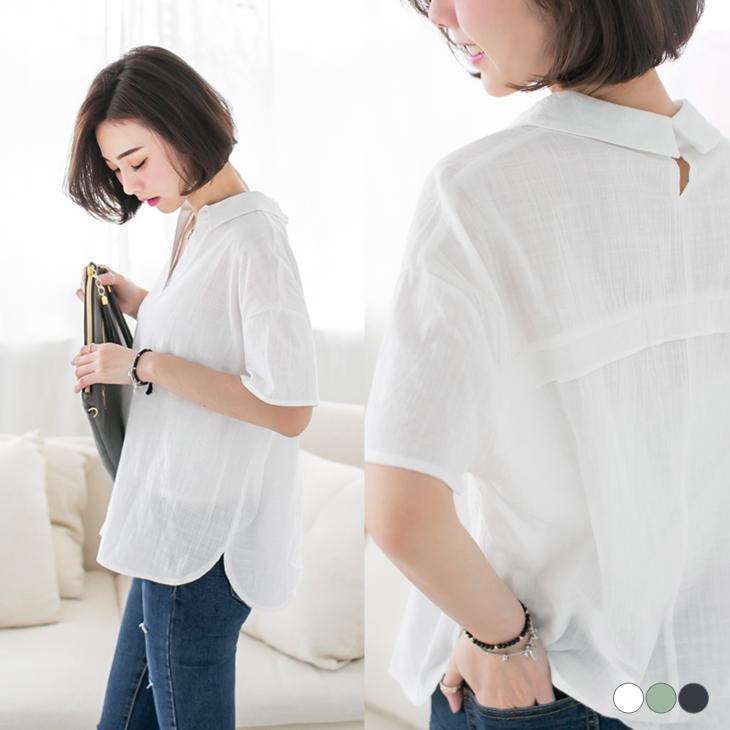 0420新品 素面開襟後扣式襯衫領設計落肩上衣.3色