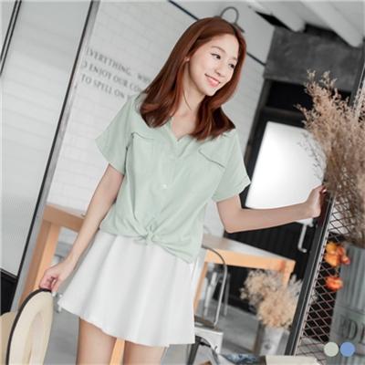 0408新品 素色雙口袋休閒寬鬆襯衫/外套.2色