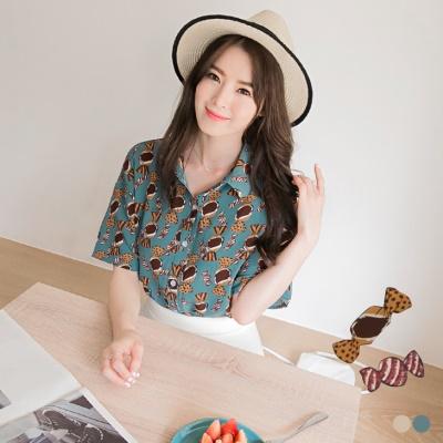 【精選系列♥任選7折】質感糖果造型燙印落肩襯衫.2色