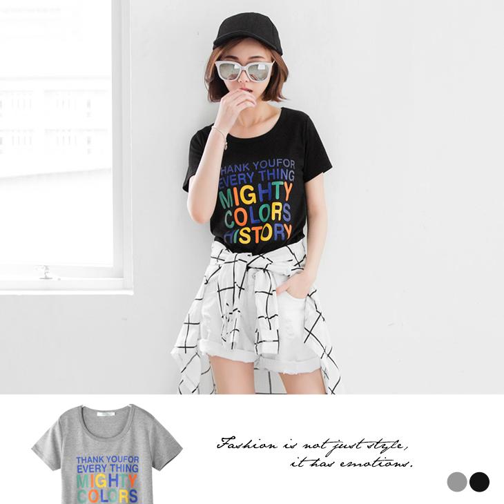 【Lob嚴選洋裝INE限定】 繽紛色彩字母燙印圓領T恤.2色