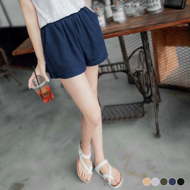 0407新品 百搭輕曳~素色質感厚雪紡短褲.5色