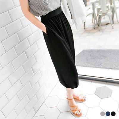 0628新品 輕盈美型~黑色雪紡彈性腰圍造型飛鼠褲
