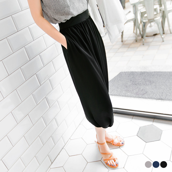 0509新品 ob顯瘦褲輕盈美型~黑色雪紡彈性腰圍造型飛鼠褲