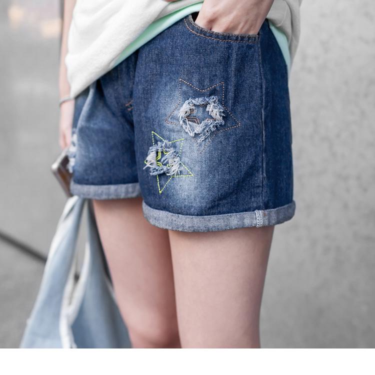 0315新品 破損設計X撞色星星刺繡抽繩牛仔短褲