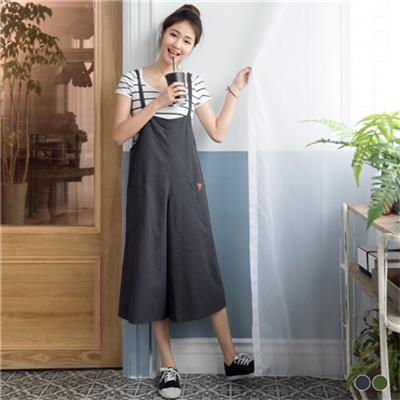 0324新品 質感水洗面料皮革綴連身褲.2色