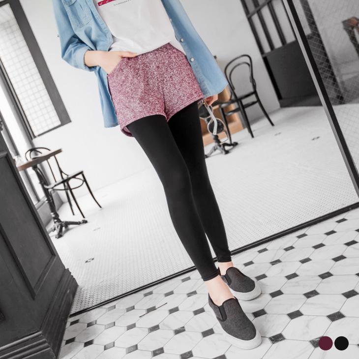 0412新品 混色假兩件短褲彈性腰鬆緊內搭長褲.2色